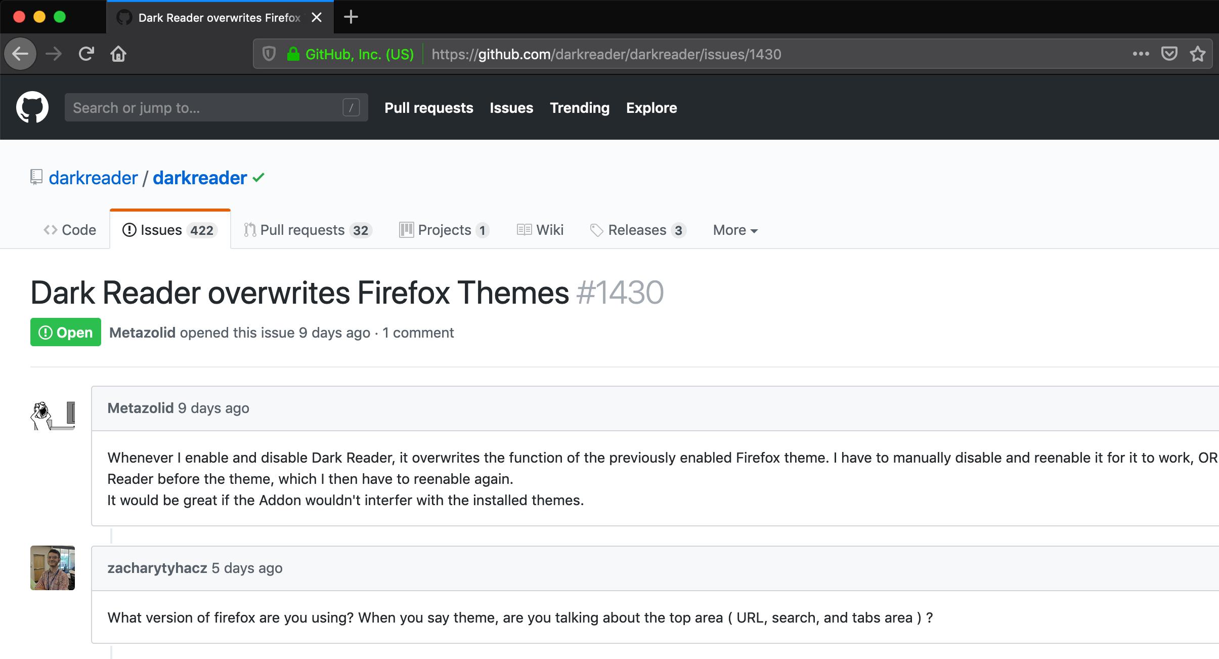 Dark Reader overwrites Firefox Themes · Issue #1430