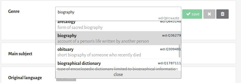 "After having clicked on the ""add"" button, a text field lets you search for a genre among the possible values. Those values are those existing on Wikidata, and it's not possible to create new ones on Inventaire itself at the moment."