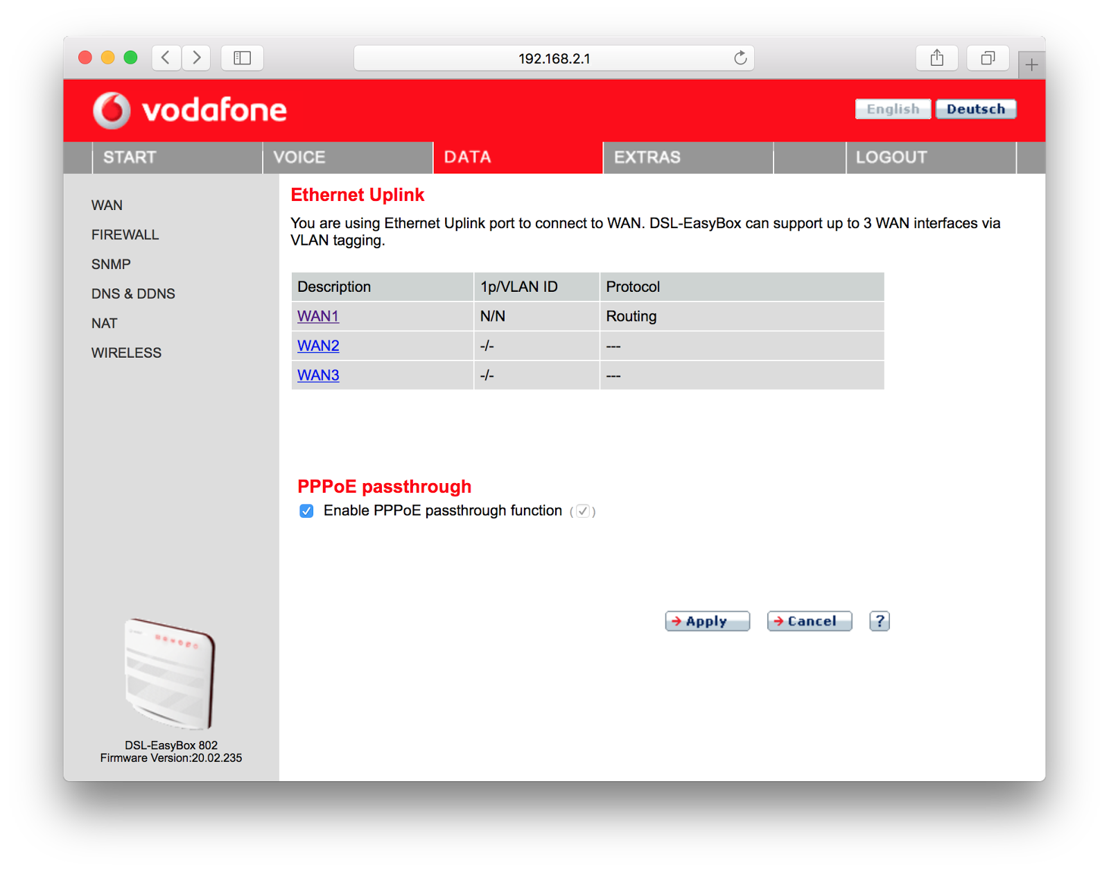 Configure Vodafone DSL-EasyBox 802 as a router and a wifi