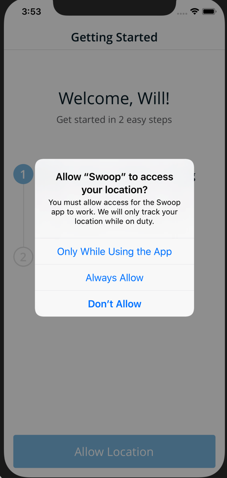 Can't accept location permission from system alert pop up