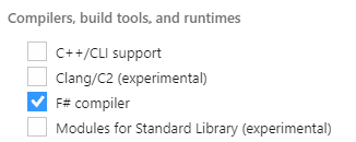 Installing MSBuild tools for VS2017 fails to find reference FSharp