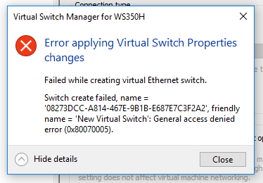 Hyper-V was unable to find a virtual switch with name