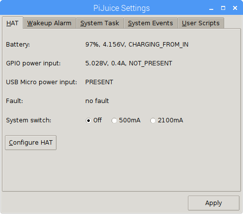 Main software menu, with battery attached