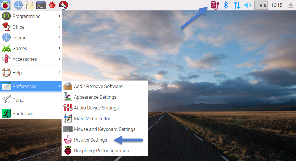 Raspberry Pi Menu Entry for PiJuice Settings Software