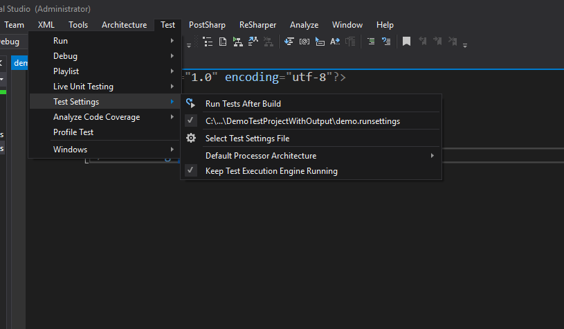 Generate xml file of test results as specified in  runsettings file