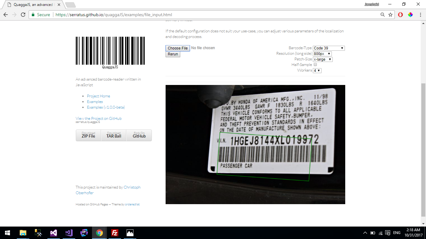 Not working with VIN Numbers (Code39) barcodes  · Issue #235