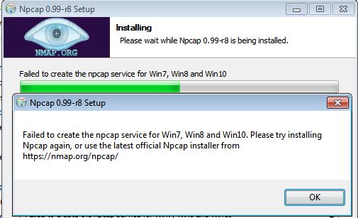 Npcap install error 0x8007000d - Failed to create npcap