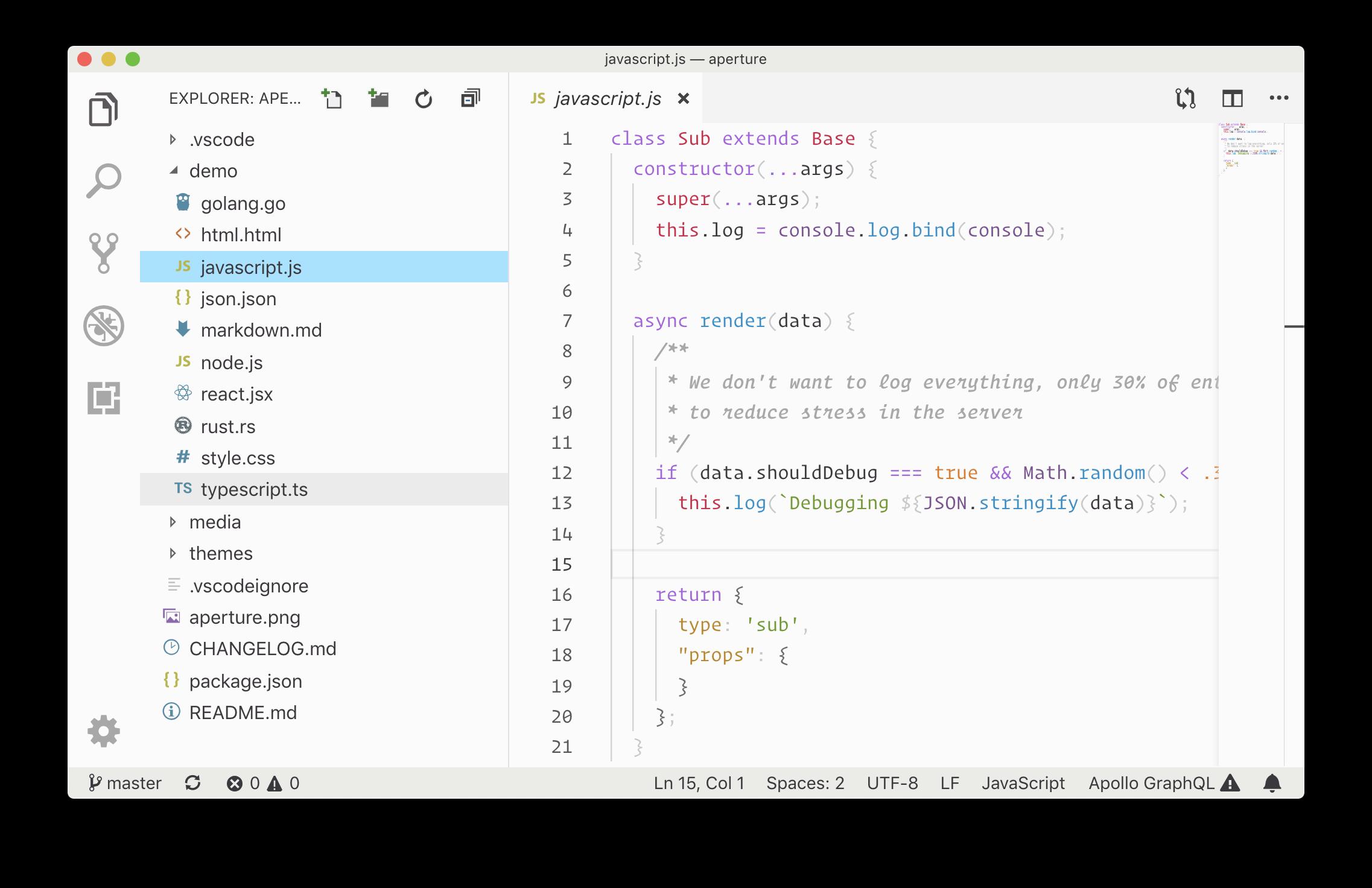 Small Aperture Editor Theme Screenshot