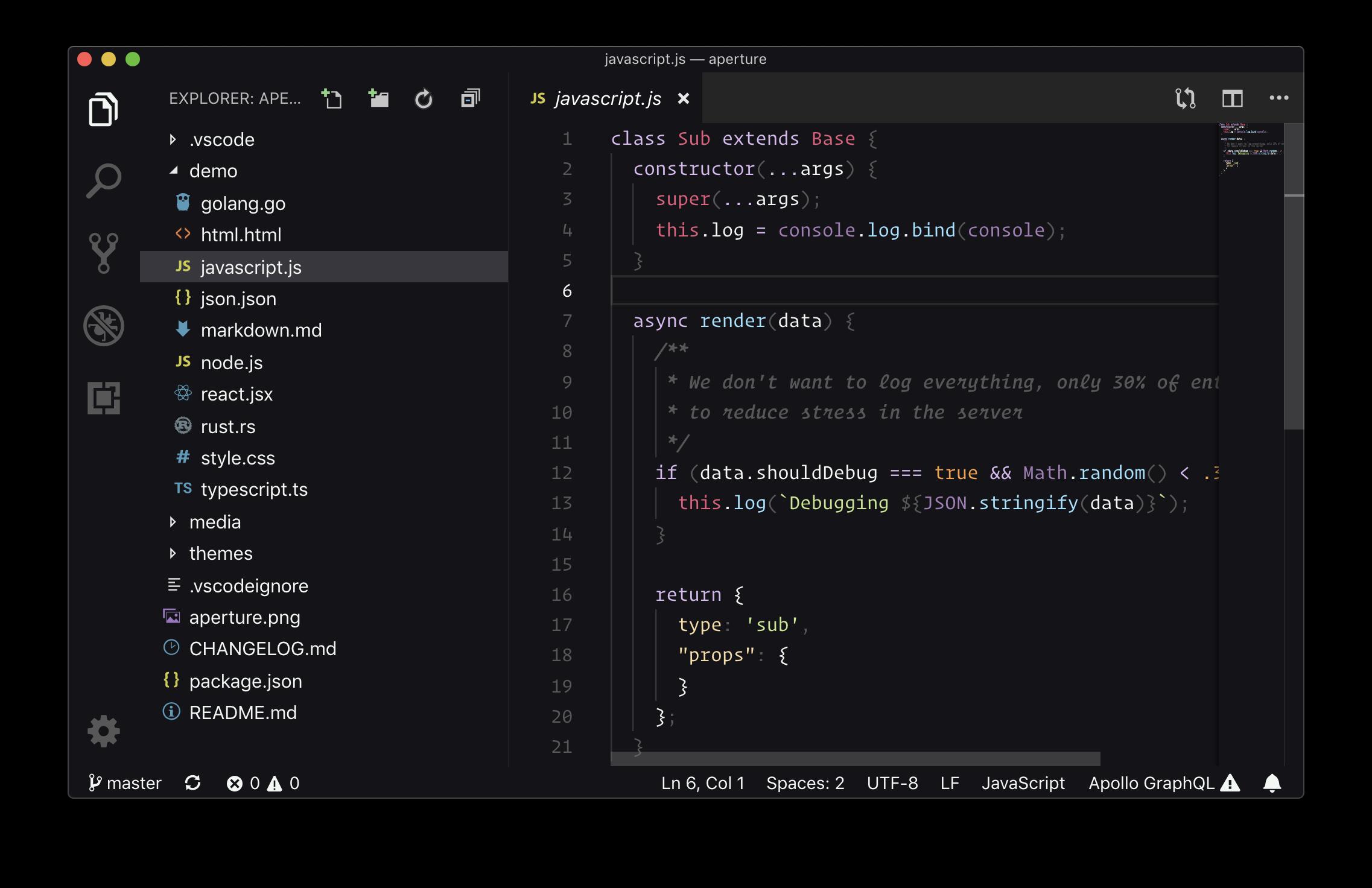 Large Aperture Editor Theme Screenshot