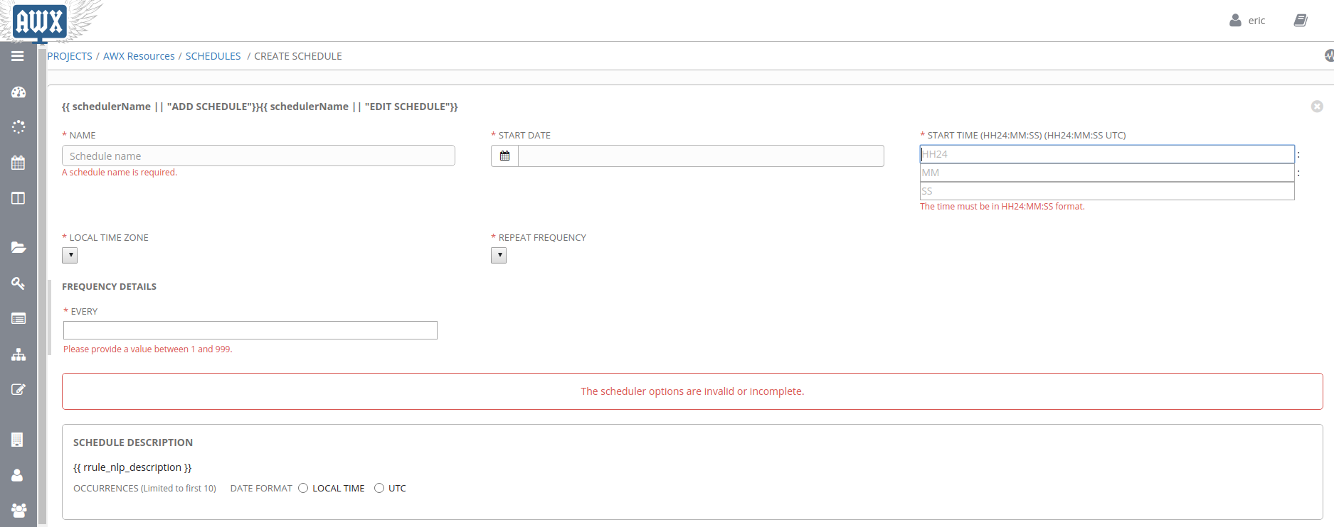 create schedule page display issues issue 235 ansible awx