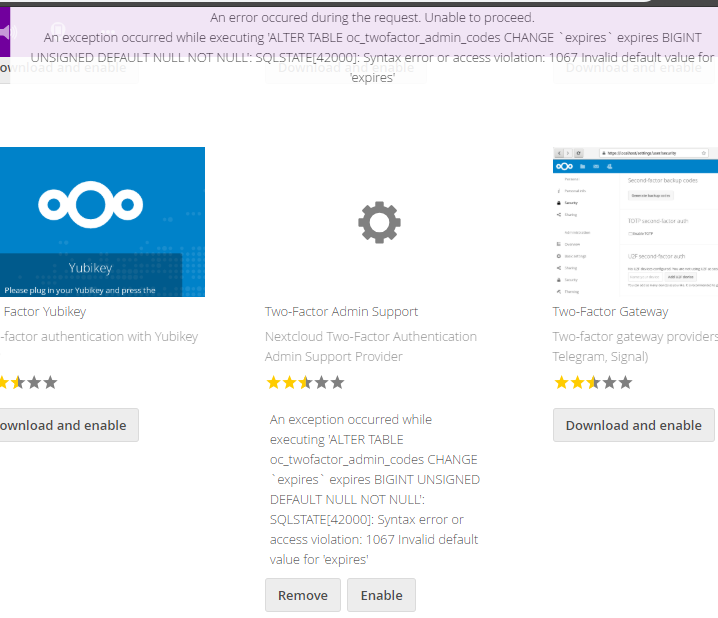 Database error when enabling app: 1067 Invalid default value