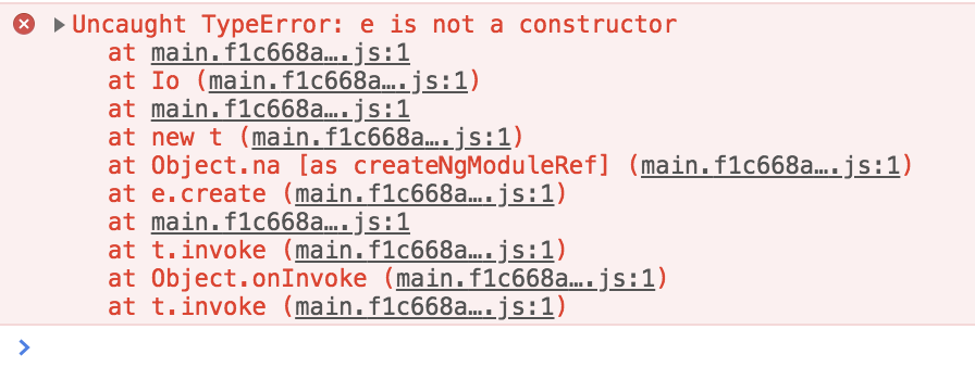Uncaught (in promise) TypeError: e is not a constructor
