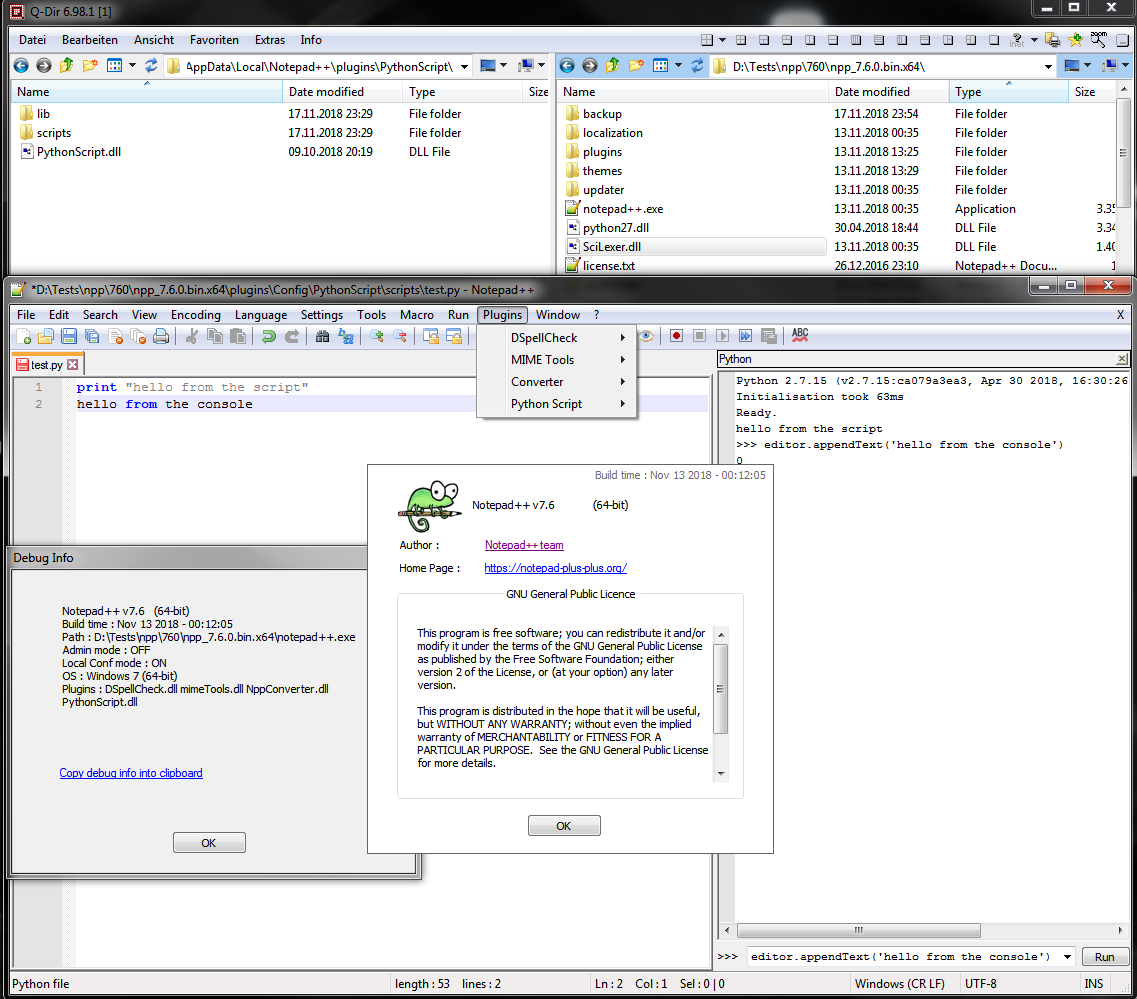 Python Script plugin is not compatible with Notepad++