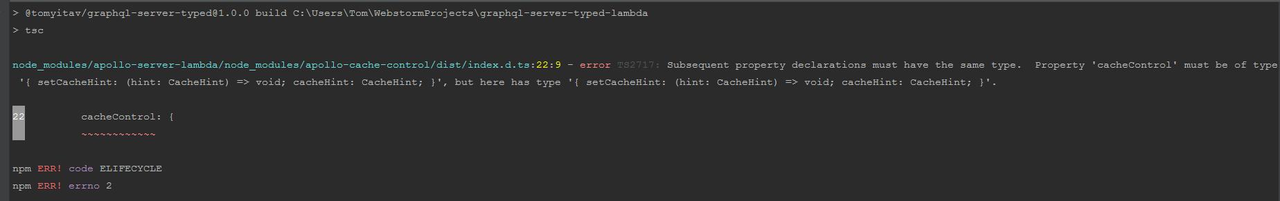 Typescript error in apollo-server-lambda dependency · Issue
