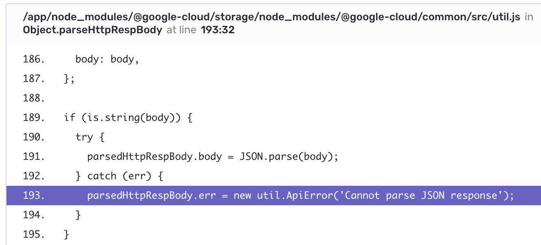 Error message in Node js console is not the orignial error message