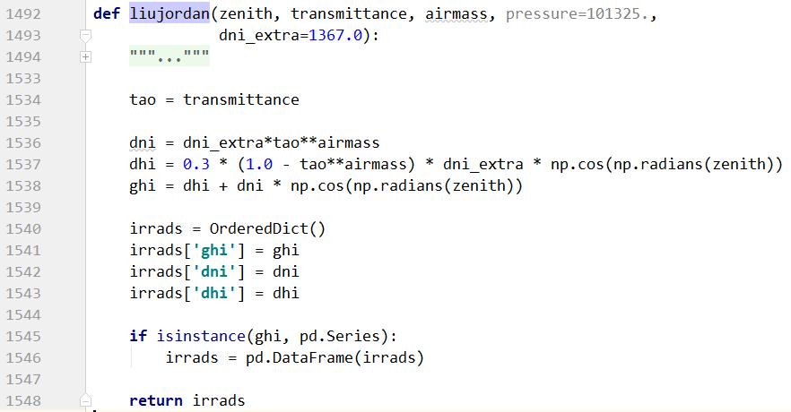 irradiance liujordan function doesn't use pressure arg