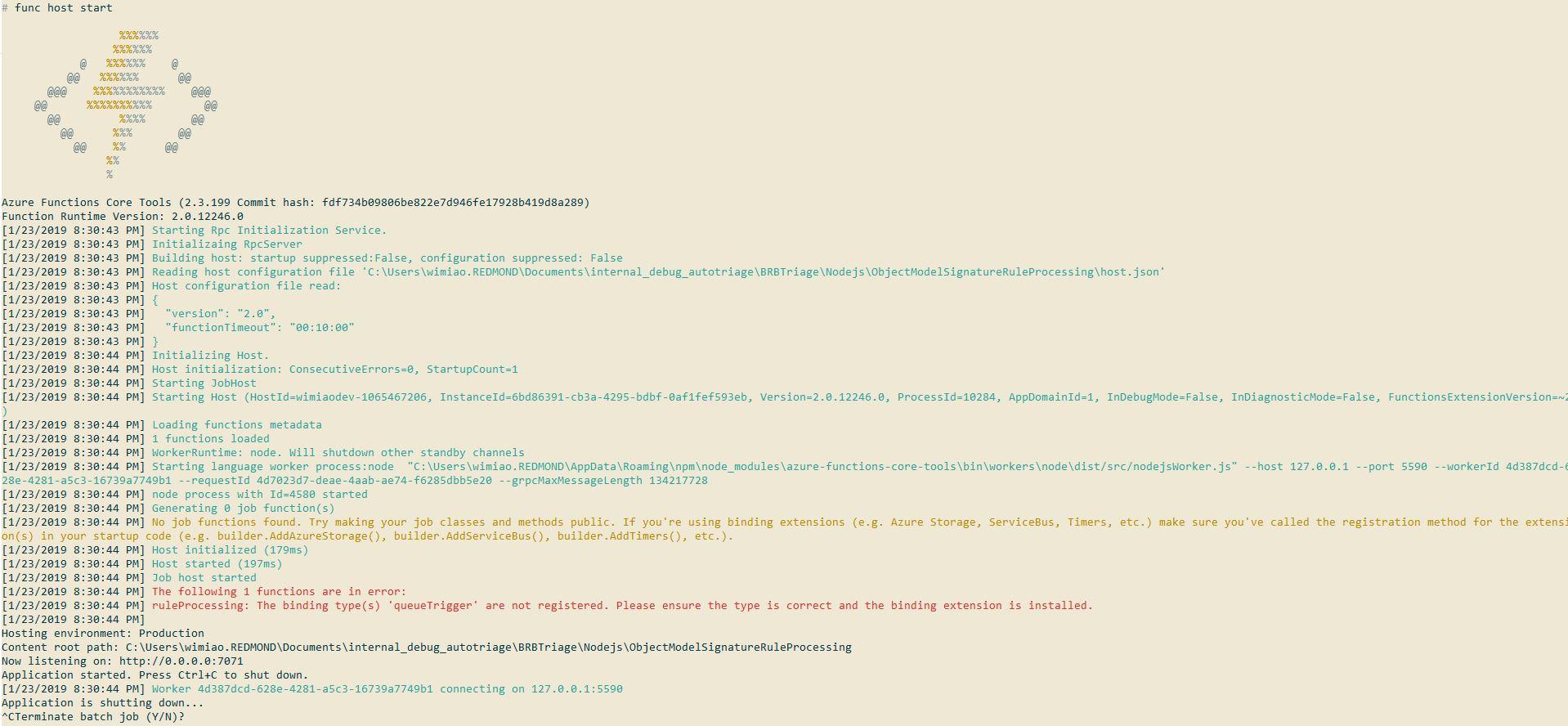 azure functions core tools v2 no longer recognizes my queue