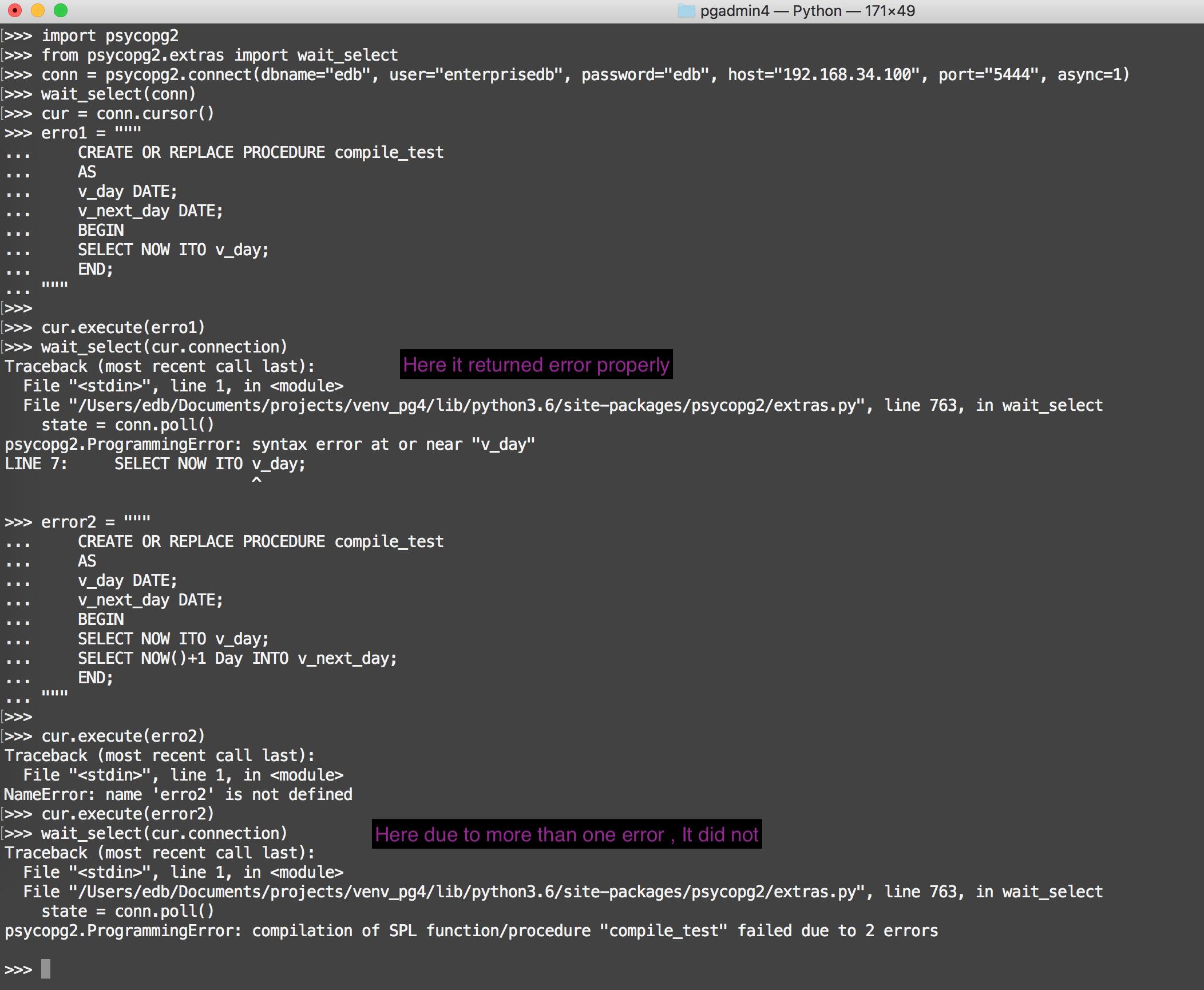 psycopg2 ProgrammingError exception did not return all the errors