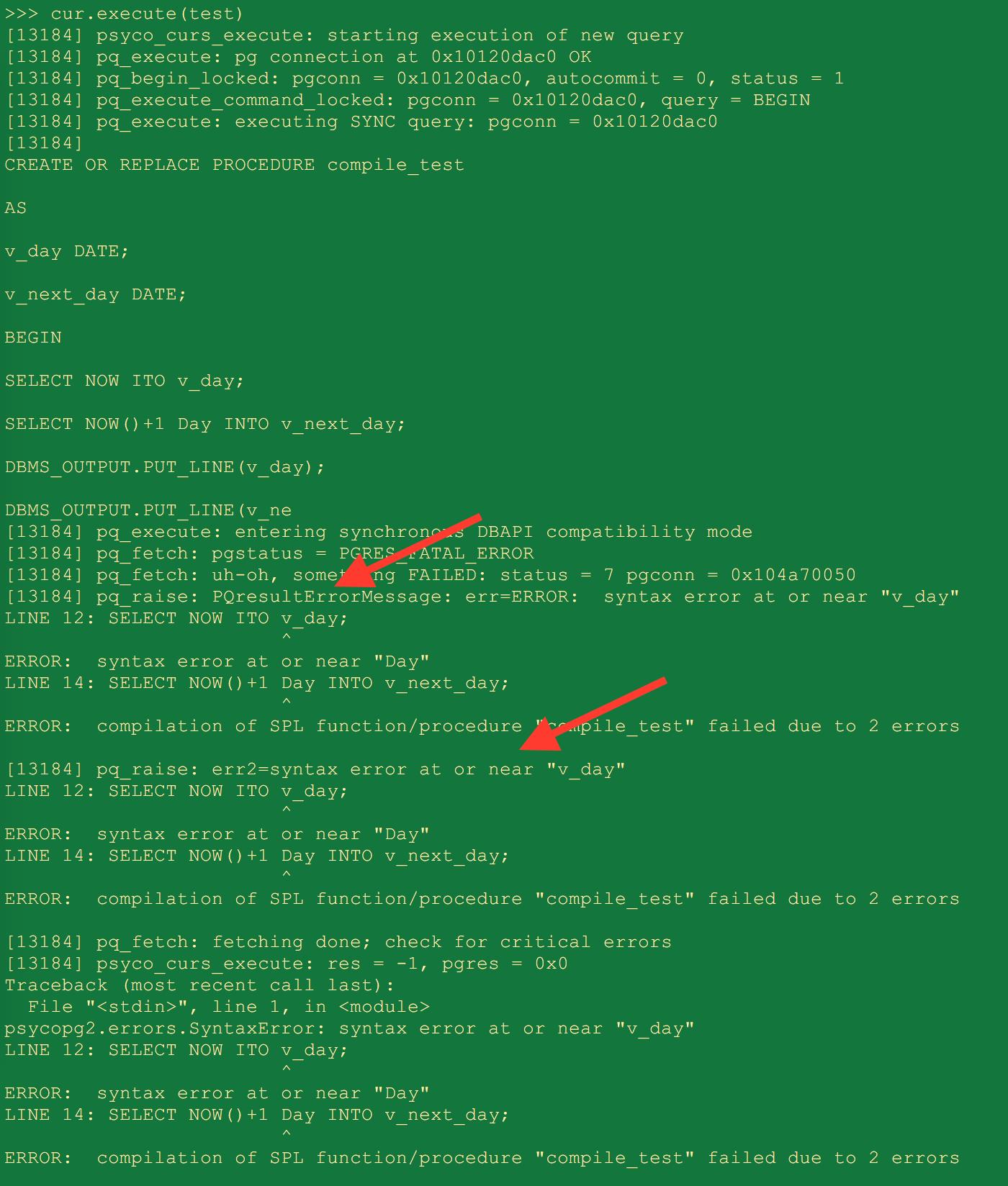 psycopg2 ProgrammingError exception did not return all the