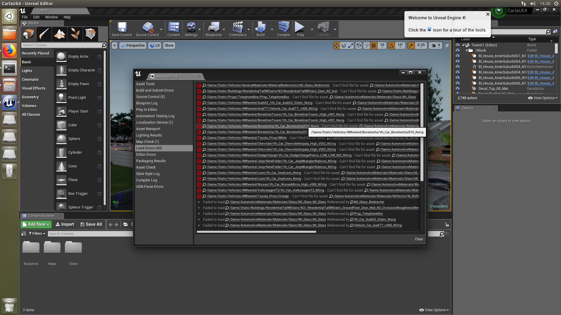 Carla in UE4 opening with a lot of Load Errors  (Can't find file for