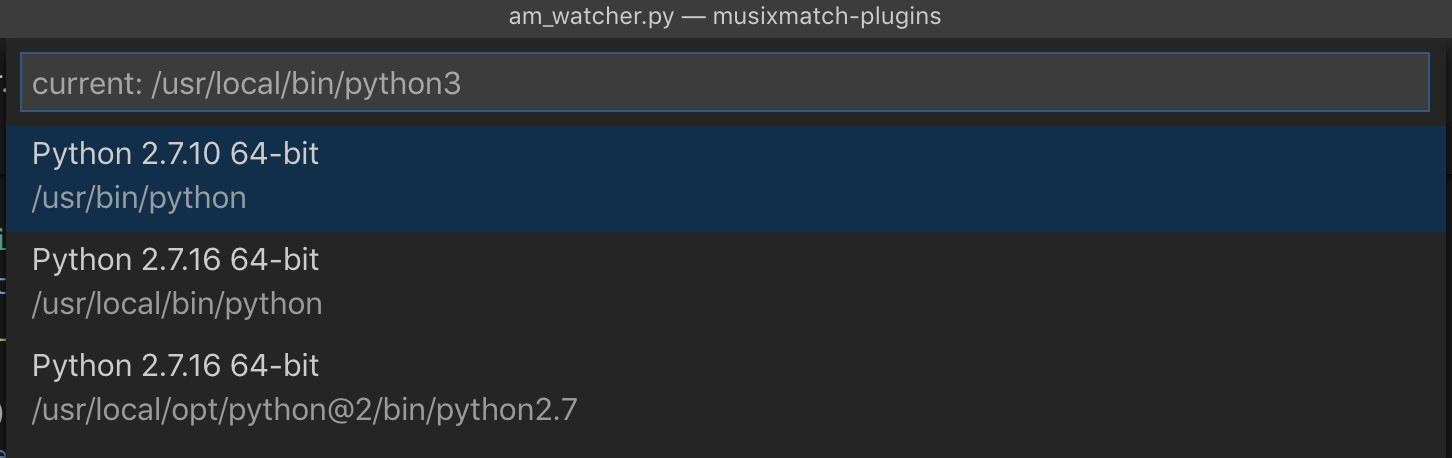 Select Python Interpreter with Python3 on macOS · Issue