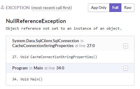 When exception comes from non app code, don't display 'only
