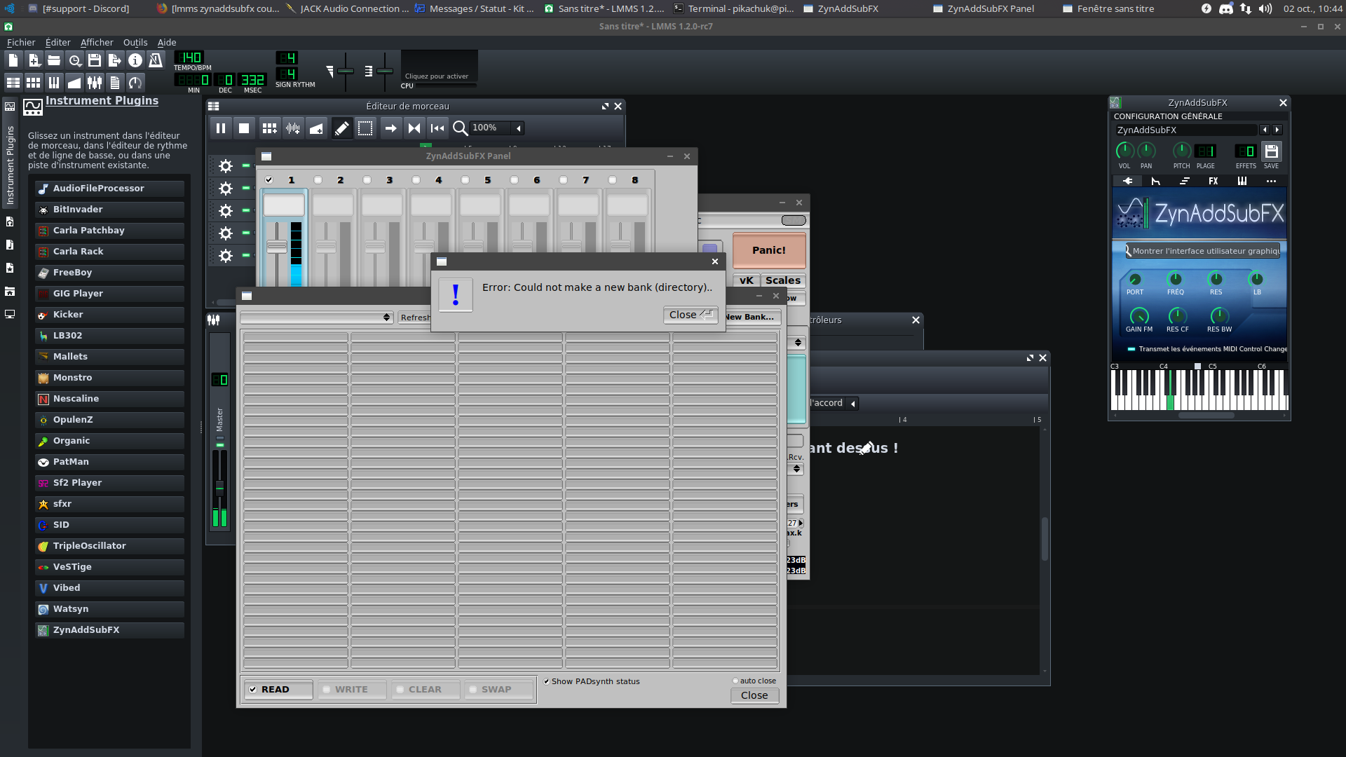 ZynAddSubFX can't create a new instrument bank · Issue #4642
