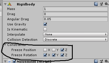 Add a way to freeze specific rotations and positions in a rigidbody