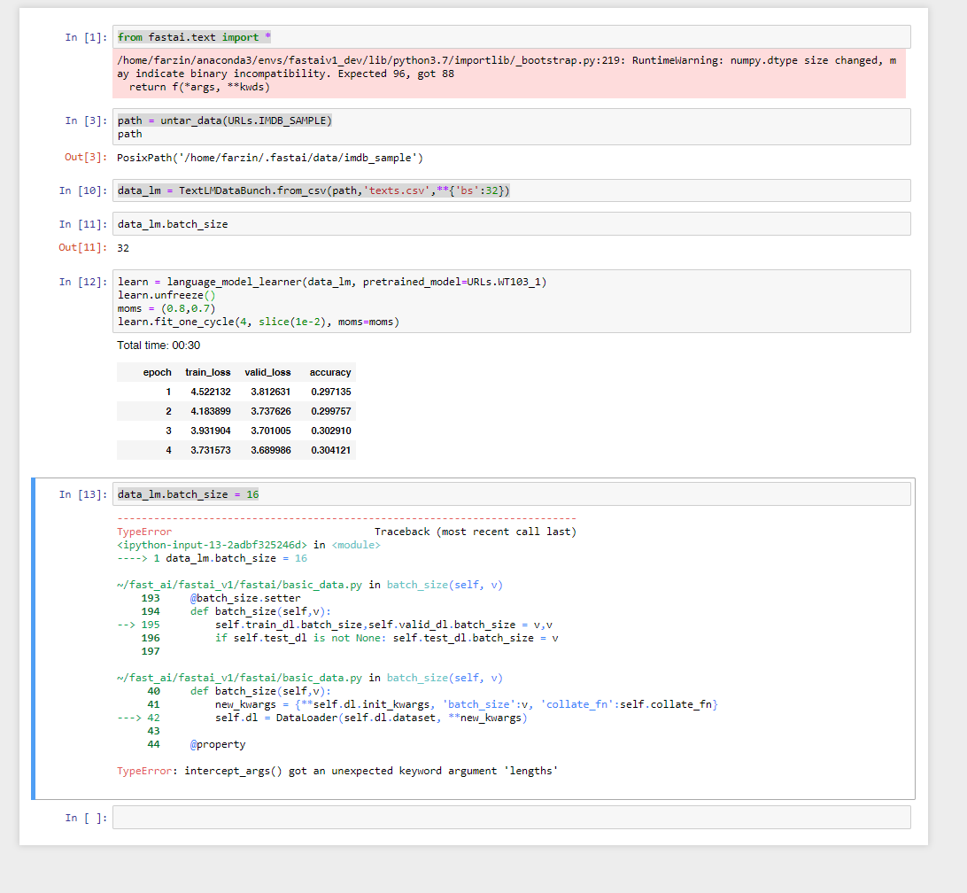 Unable to set TextLMDataBunch batch_size property · Issue #1420