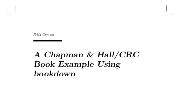 The front page of the bookdown-crc example