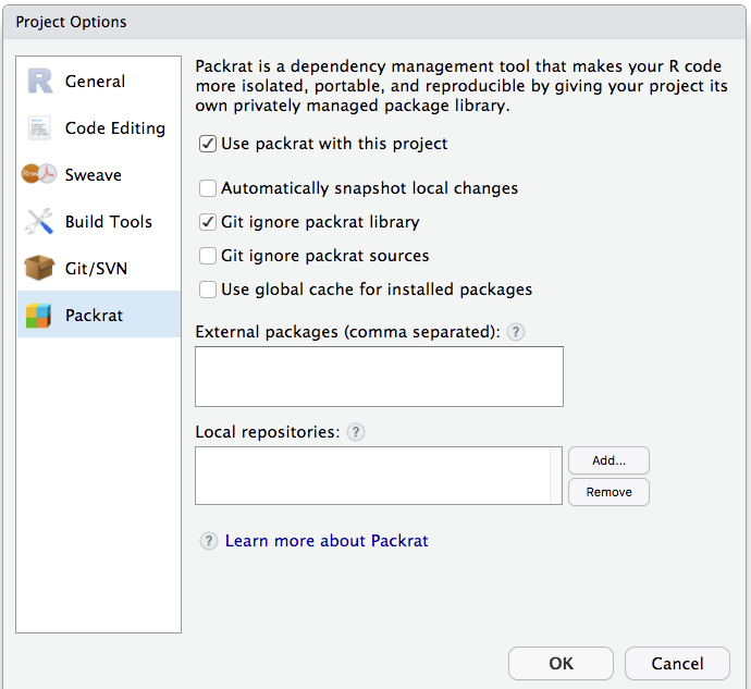 Enable packrat in an RStudio project