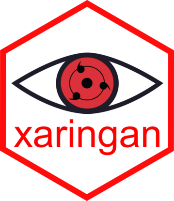 The xaringan logo, adapted from Sharingan of the Uchiha clan.
