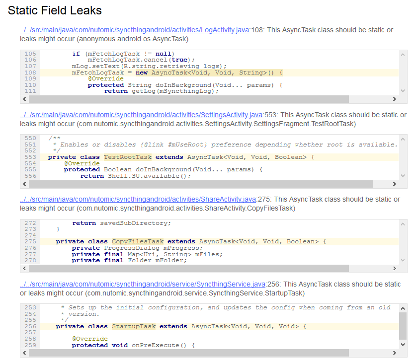 Developers - Leak probability in SyncthingService AsyncTask -