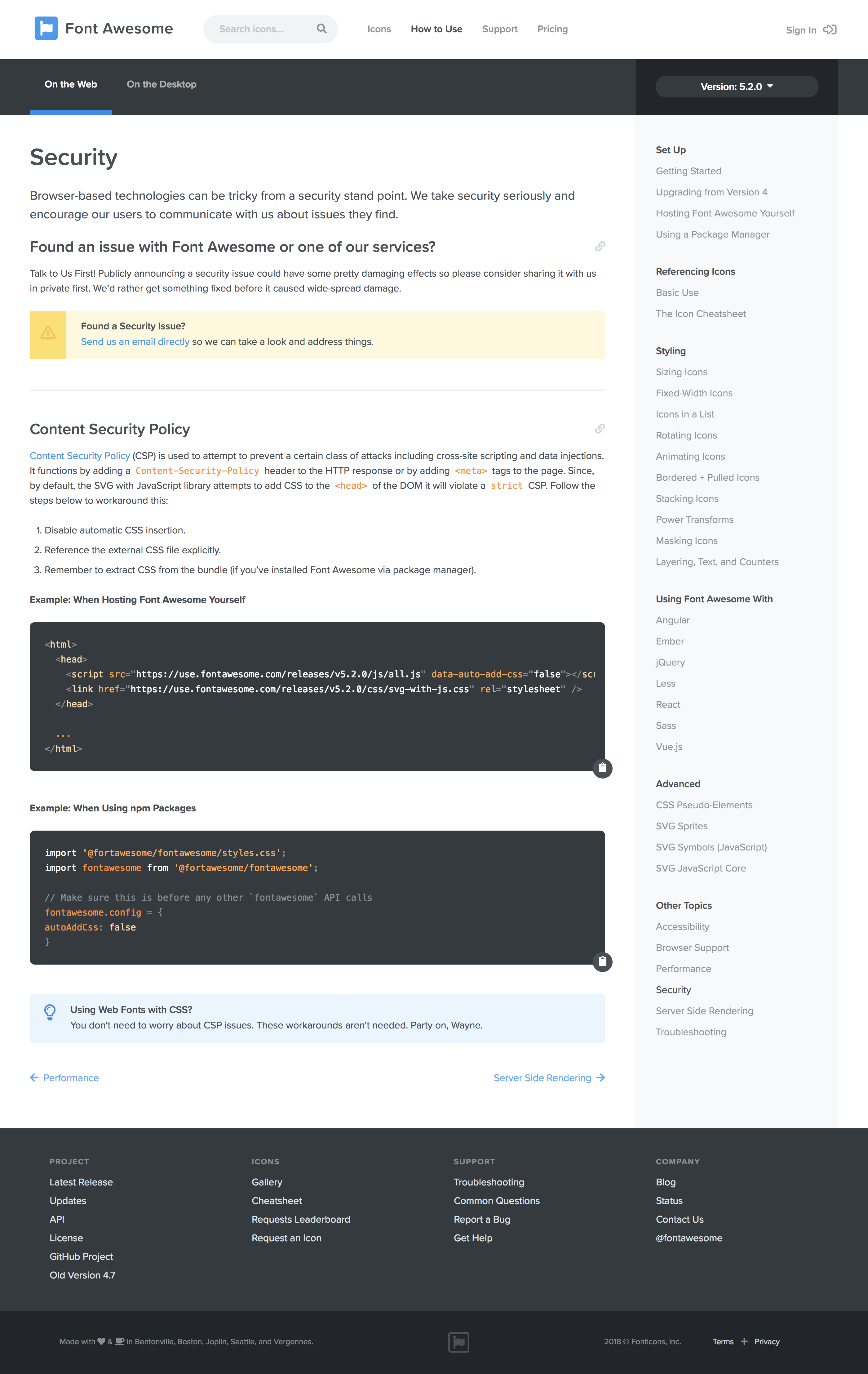 Update Csp Docs With Instructions For Those Using Npm Packages Issue 12969 Fortawesome Font Awesome Github