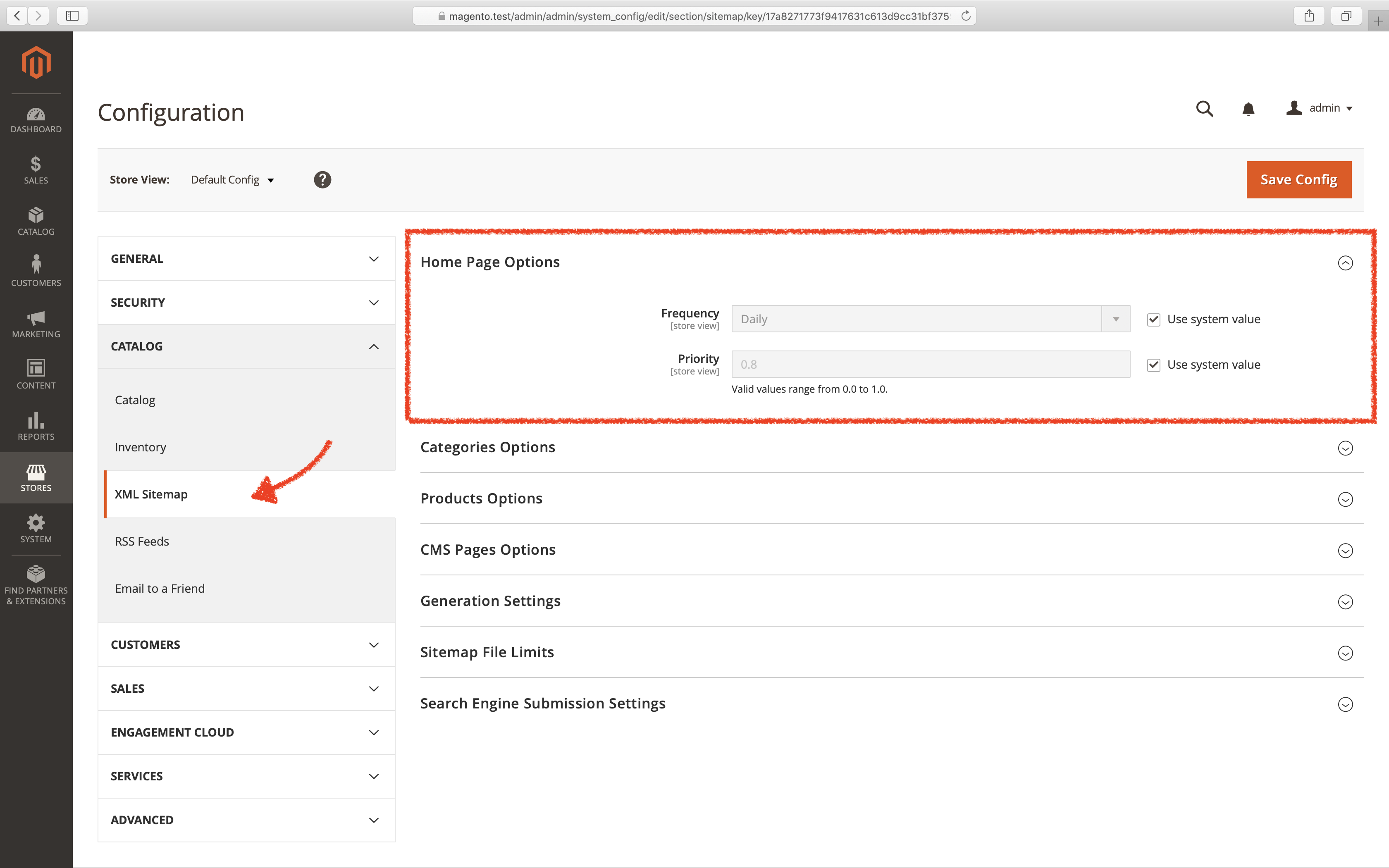 Screenshot: Magento admin interface for generating sitemaps.