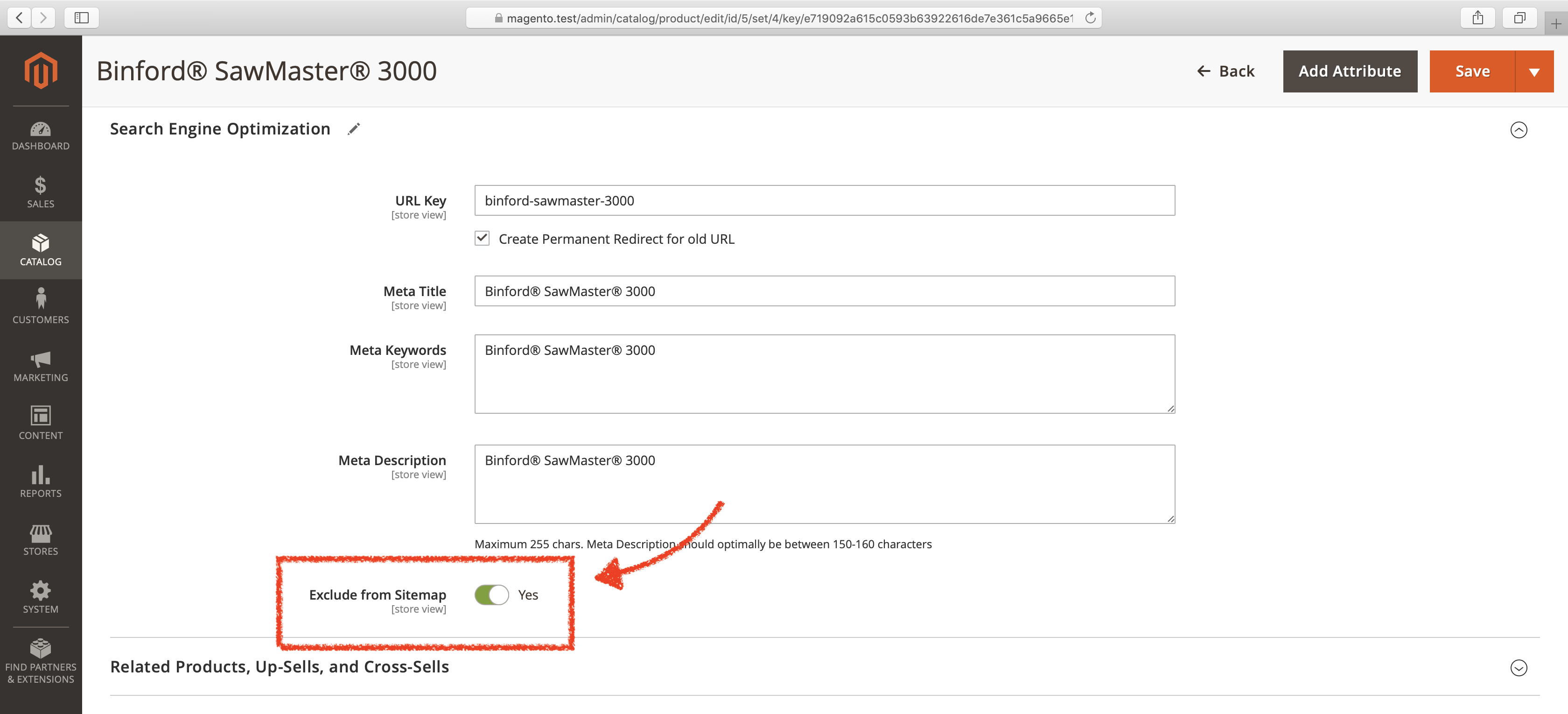Screenshot: How to exclude selected products from XML sitemaps in Magento 2.