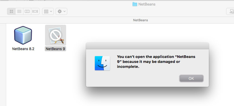 """You can't open the application """"NetBeans 9"""" because it may be"""