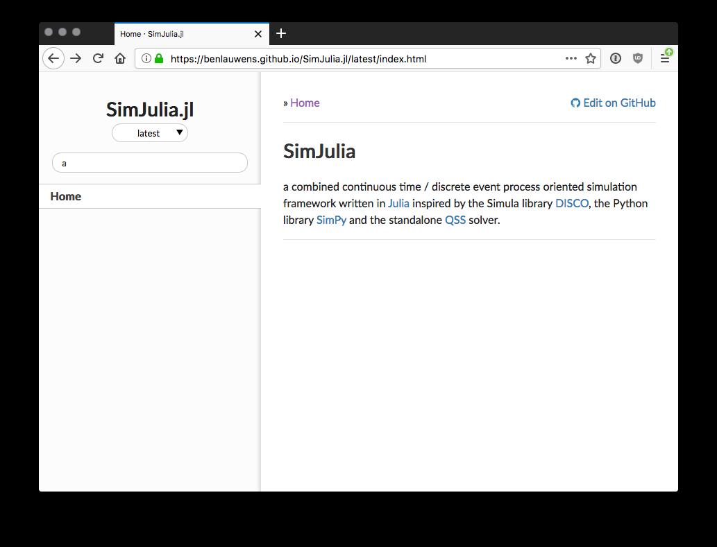 Latest Documentation is empty · Issue #38 · BenLauwens/SimJulia jl
