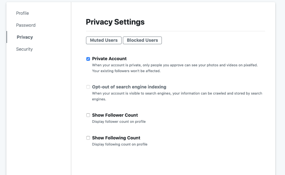 settings page with checkboxes for showing counts left unchecked