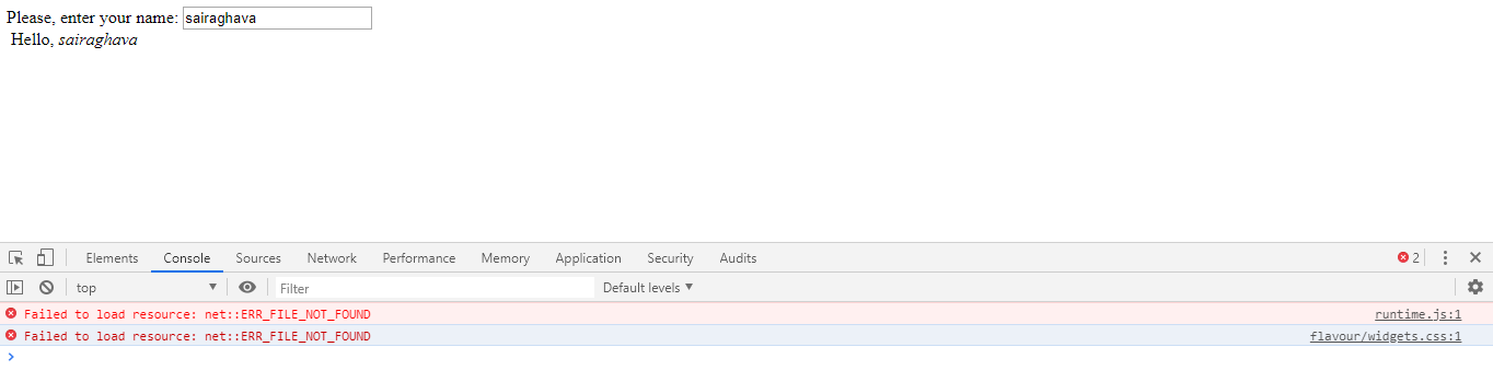 runtime js not found and flavour/widgets css not found