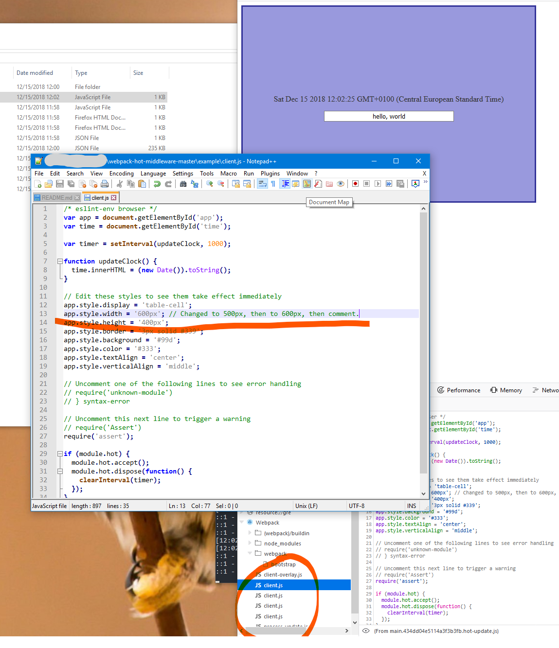 New source entries in Firefox Developer Tools after each HMR
