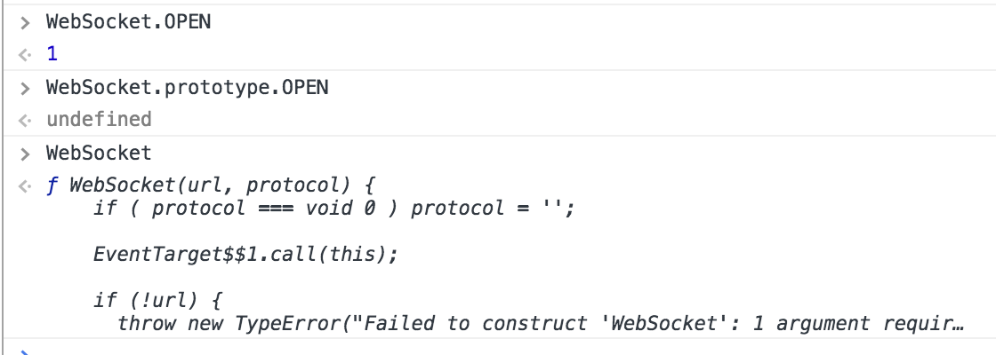 readystate` constants should also be set on WebSocket