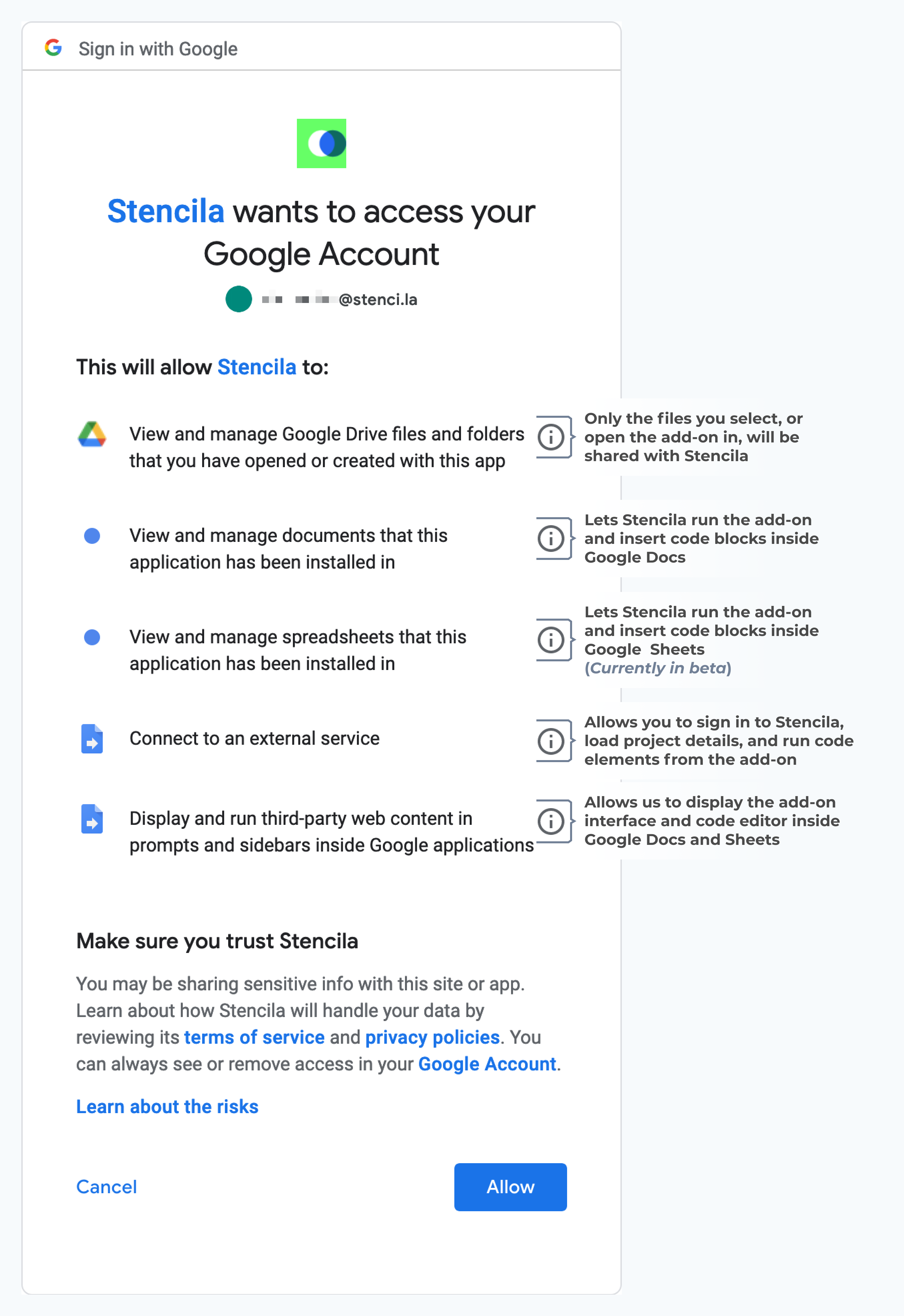 Stencila for Google Docs Permissions request