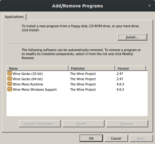 Can't install dotnet40 on Wine 4 9 because it thinks it's already