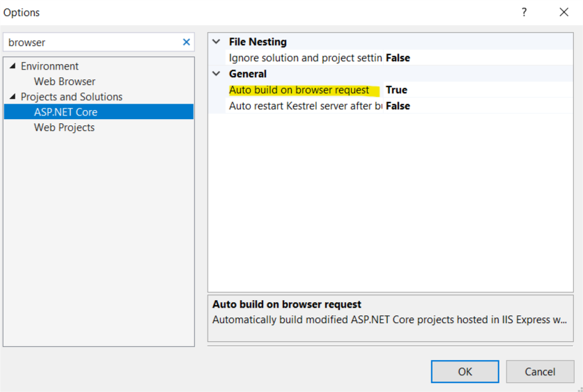 auto build on browser request not working issue 1079 aspnet