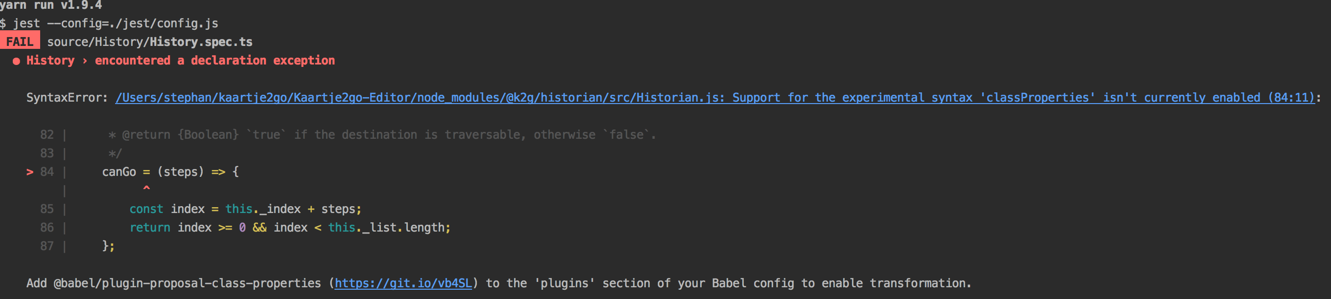 babel/plugin-proposal-class-properties is ignored in