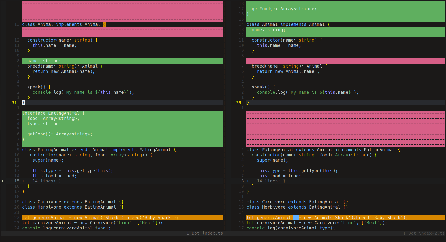 Screenshot Vim diff