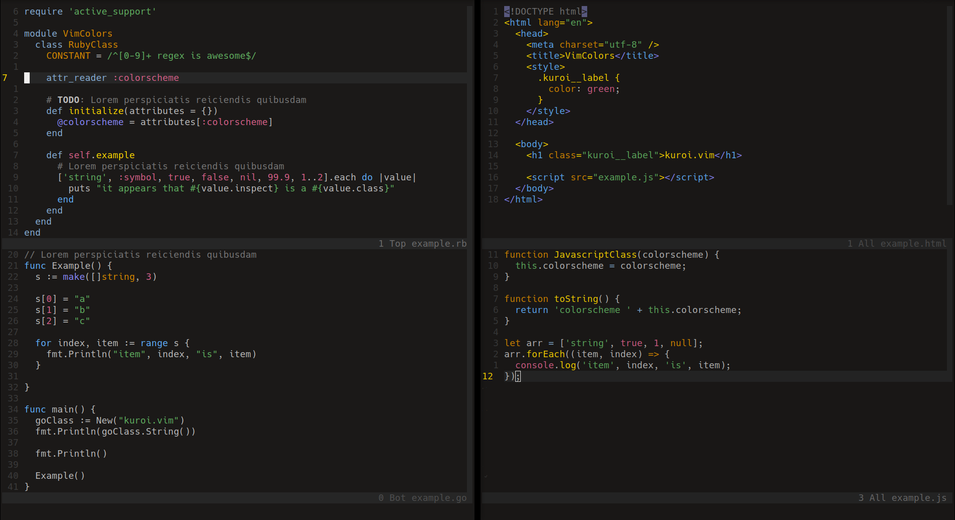 kuroi.vim screenshot