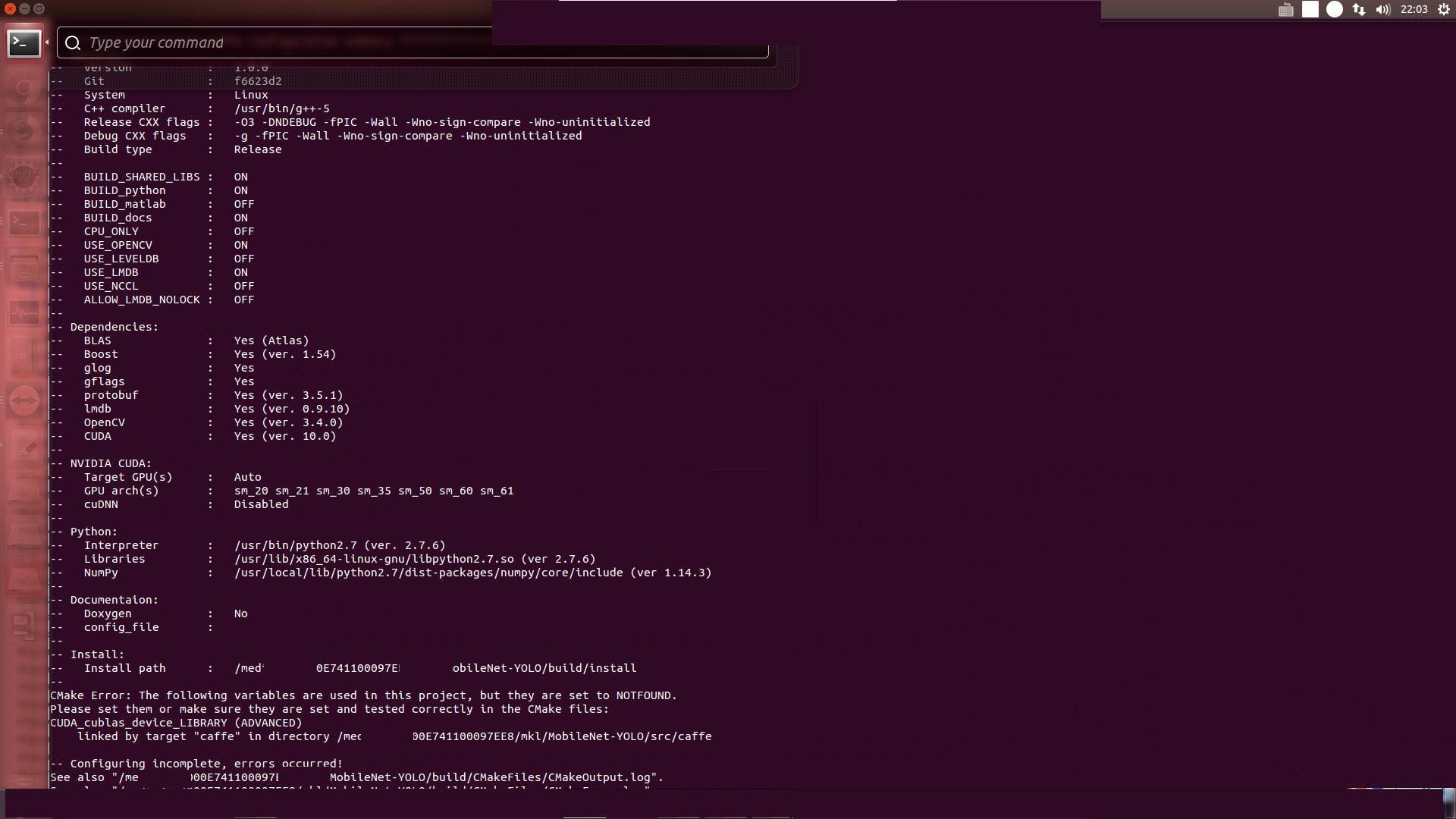cmake error · Issue #48 · eric612/MobileNet-YOLO · GitHub