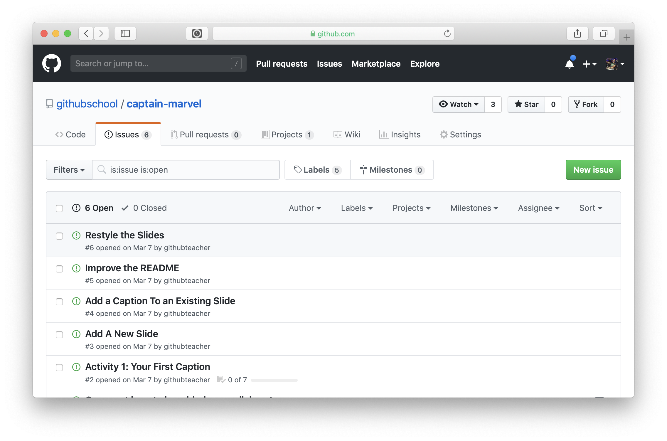screenshot of a repository with 5 open issues, none without labels and all opened by @githubteacher. The issues are: restyle the slides, improve the readme, add a caption to an existing slide, add a new slide, activity 1: your first caption